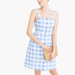 J Crew Blue and white gingham dress size 12